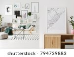 map and plant on wooden... | Shutterstock . vector #794739883