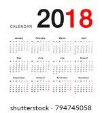 year 2018 calendar vector...   Shutterstock .eps vector #794745058
