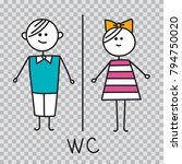 wc sign.toilet door plate icon. ... | Shutterstock .eps vector #794750020