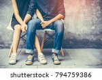 young couples sitting on a... | Shutterstock . vector #794759386