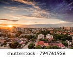Aerial view of Barranquilla, Colombia towards the river at sunset