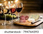 three glass of red wine  rose... | Shutterstock . vector #794764393