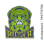 logo vegan power strong cartoon ... | Shutterstock .eps vector #794775700