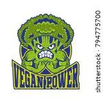 logo vegan power strong cartoon ... | Shutterstock .eps vector #794775700