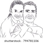 people line art  couples | Shutterstock .eps vector #794781106