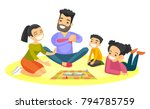 young caucasian white parents... | Shutterstock .eps vector #794785759