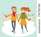 caucasian white couple ice... | Shutterstock .eps vector #794785780