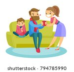 young caucasian white sick... | Shutterstock .eps vector #794785990