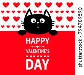 Stock vector black cat hanging on board signboard cute cartoon funny kitten kitty hiding behind paper happy 794789590
