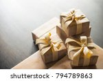 gift boxes laid out on a table. | Shutterstock . vector #794789863