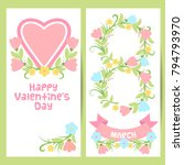 cute floral banner in cartoon... | Shutterstock .eps vector #794793970