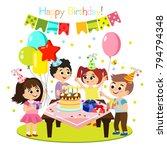 vector illustration of kids...   Shutterstock .eps vector #794794348