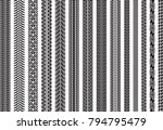 tire tracks of various vehicles | Shutterstock .eps vector #794795479
