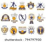 bowling logo vector bowler... | Shutterstock .eps vector #794797930