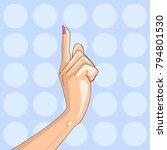 woman point finger gesture pop... | Shutterstock .eps vector #794801530