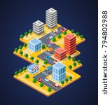 colorful 3d isometric city of... | Shutterstock .eps vector #794802988