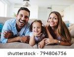happy family watching... | Shutterstock . vector #794806756