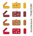 multicolored set of suitcases...   Shutterstock .eps vector #794819389