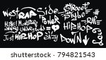 many graffiti tags on a black... | Shutterstock .eps vector #794821543