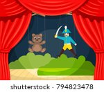 children's puppet theater with... | Shutterstock .eps vector #794823478