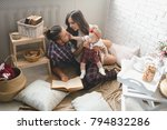 happy young family mother ...   Shutterstock . vector #794832286