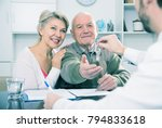 old husband and wife signing... | Shutterstock . vector #794833618