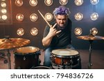bearded drummer with colorful... | Shutterstock . vector #794836726