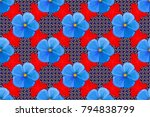seamless abstract floral... | Shutterstock . vector #794838799