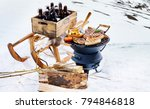 snowy winter barbecue outdoors... | Shutterstock . vector #794846818
