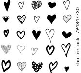 hearts hand drawn icons set... | Shutterstock .eps vector #794847730