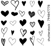 hearts hand drawn icons set... | Shutterstock .eps vector #794847778