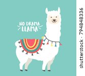cute cartoon llama vector... | Shutterstock .eps vector #794848336