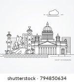 linear illustration of saint... | Shutterstock .eps vector #794850634