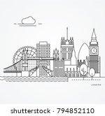 linear illustration of london ... | Shutterstock .eps vector #794852110