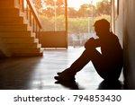 silhouette of sad depressed... | Shutterstock . vector #794853430