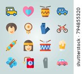 icon set about hippies with