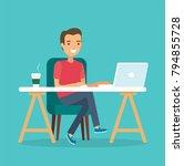 freelancer at work  working...   Shutterstock .eps vector #794855728