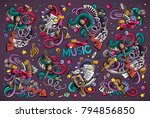 colorful vector hand drawn... | Shutterstock .eps vector #794856850