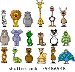 Stock vector big set of various cartoon animals 79486948
