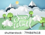 paper art and origami of earth... | Shutterstock .eps vector #794869618
