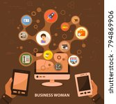 business woman flat icon... | Shutterstock .eps vector #794869906