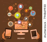 delivery flat icon concept.... | Shutterstock .eps vector #794869930
