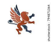 winged gryphon  mythical animal ... | Shutterstock .eps vector #794871364