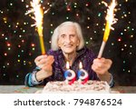happy grandma celebrating 99th...   Shutterstock . vector #794876524