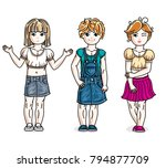 sweet little girls standing... | Shutterstock .eps vector #794877709
