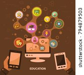education flat icon concept.... | Shutterstock .eps vector #794879503