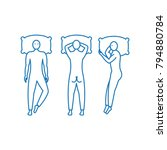 different poses of sleeping.... | Shutterstock .eps vector #794880784