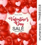 valentines day sale  discount... | Shutterstock .eps vector #794881018