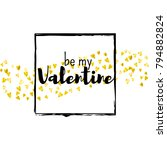 valentines day card with gold... | Shutterstock .eps vector #794882824