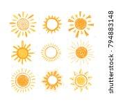 set of hand drawn sun symbols.... | Shutterstock .eps vector #794883148